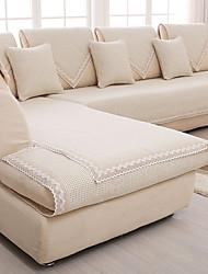 coton / lin antidérapant housse de canapé beige mode slipcover quatre saisons canapé en tissu coussin pur et frais