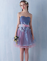 Cocktail Party Dress Ball Gown Strapless Short/Mini Lace / Tulle