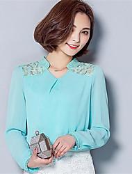 Damen Solide T-shirt - Polyester Langarm V-Ausschnitt