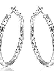 Women's S925 Silver Plated Round Fish Grain Hoop Earrings(Color Preserving More Than A Year)
