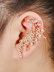 Unisex Fashion Gold/Silver Leaf Crystal Alloy Stud Ear Cuffs Earrings Jewelry(1PC)