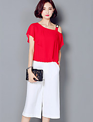 Women's Solid Red / White / Black Set,One Shoulder Short Sleeve