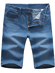 Men's Casual Straight Fit Denim Shorts,Casual / Plus Sizes Solid Cotton / Polyester