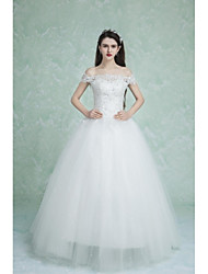 Ball Gown Wedding Dress Floor-length Off-the-shoulder Lace with Appliques / Beading
