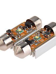 2 x cree-xpe Q5 LED festão luz da lâmpada lâmpada dc 12V Branco interior do carro 36 milímetros