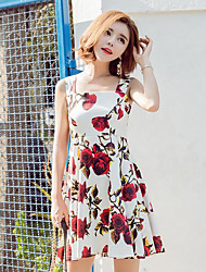 Women's Vintage / Street chic Floral Slim Sweet Classic A Line Backles Sheath Dress,Square Neck Above Knee