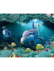 JAMMORY 3D Wallpaper Contemporary Wall Covering,Canvas Stereoscopic Large Mural Big Green Underwater World Dolphin