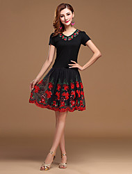 Latin Dance Dress 2 Pieces Women's Performance Tulle/Milk Fiber Black / Fuchsia / Red / Burgundy-Tops Embroidery-Skirts