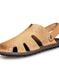 Men's Shoes Outdoor / Office & Career / Athletic / Dress / Casual Nappa Leather Sandals Big Size Black / Brown