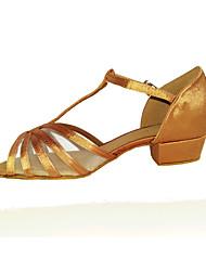 Non Customizable Women's Dance Shoes 1 Satin / Leatherette / Sparkling Glitter Low Heel Black / Brown / Silver