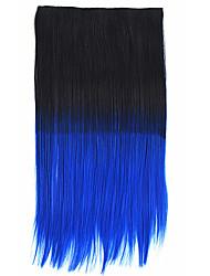 Clip 26 pollici in nero colore bule estensioni dei capelli dritti sintetiche con 5 clip