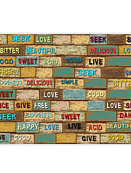 Vintage Shinny Leather Effect Large Mural Wallpaper Words Graffiti Restaurant Art Wall Decor Wall Paper