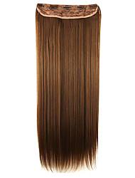 peruca 64 centímetros de alta temperatura comprimento do fio marrom cabelo liso extensão do cabelo sintético escuro