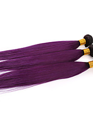 3 Pieces Ombre Purple Straight Virgin Human Hair Weaves Two Tones Brazilian Human Hair Extensions Straight