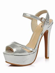Women's Shoes PU / Synthetic Stiletto Heel Heels / Open Toe Sandals Office & Career / Casual Black / Silver / Gold