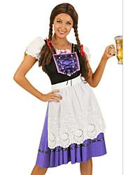 Costumes de Cosplay / Costume de Soirée Fête d'Octobre/Bière Fête / Célébration Déguisement Halloween Bleu Mosaïque Robe / Tablier