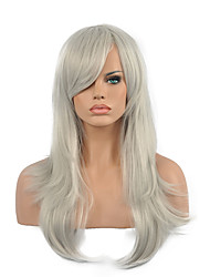 70 Cm Harajuku Anime Colorful Cosplay Wigs Young Long Curly Synthetic Hair Wig Gray Synthetic Wigs