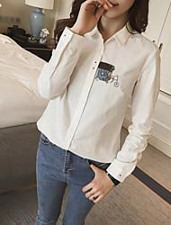 Mulheres Camisa Trabalho Moda de Rua Primavera,Jacquard Branco Poliéster Colarinho de Camisa Manga Longa Fina