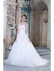 A-line Wedding Dress Sweep / Brush Train Sweetheart Satin with Appliques