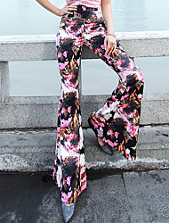 VERRAGEE® Women's Mid Rise Flare Pink Casual Pants-P301