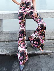 VERRAGEE® Damen Mittlere Hüfthöhe Flare Rosa Bequem Hose-P301