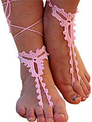 Women's Chic Crochet Footless Sandals Yoga Chain Anklet Barefoot Sandals