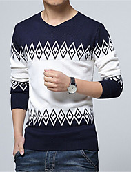 Men's Casual/Daily Regular Pullover,Color Block Long Sleeve Cotton