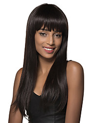 100% Human Hair graceful  Long Silky Straight Wig with Long Full Bang 24 Inches