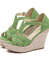 Women's Shoes Fleece Wedge Heel Peep Toe / Platform Sandals Dress Green / Pink / Almond