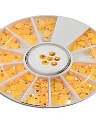 1pcs round bowl orange yellow rhinestones-Strass / Bijoux pour ongles / Paillettes & Poudre / Autre décorations-Doigt / Orteil / Autre- en