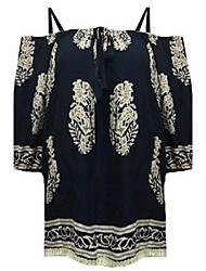 Women's Casual/Daily Street chic Summer Blouse,Print Boat Neck Long Sleeve Blue / White Rayon Medium