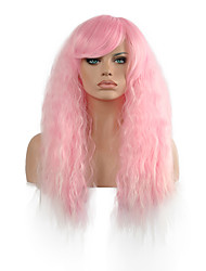 Light Pink Curly  Lady Wigs Hair Cosplay Synthetic Hair Wigs