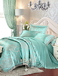 Sky Blue  Bedding Set Queen King Size Luxury Silk Cotton Blend Lace Duvet Cover Sets Jacquard Pattern