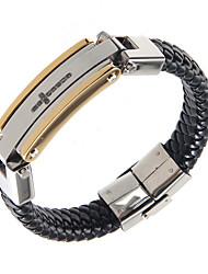 Cool Man Leather Bracelets Stainless Steel Charm Design Bangles for Men
