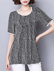 Women's Casual/Daily Plus Size Summer T-shirt,Striped Round Neck Short Sleeve Blue / Black Polyester Medium