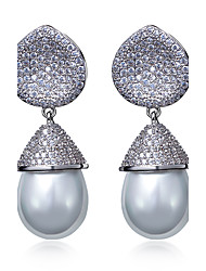 Drop Earrings Pearl AAA Cubic Zirconia Pearl Imitation Pearl Zircon Cubic Zirconia Copper Platinum Plated Gold Plated Birthstones Fashion