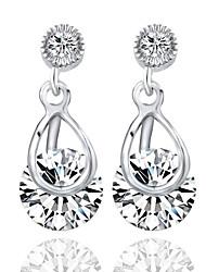 Inlay Zircon Crystal Female Korean Long Section Of Silver Dandelion Earrings