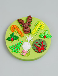 Christmas Tree Leaf Deer Snowman Silicone Mold Fondant Cake Decoration Tools Kitchen Accessories Color Random