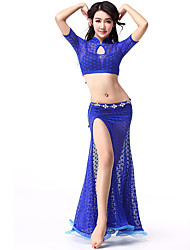 Belly Dance Outfits Women's Training Lace Lace 2 Pieces Black / Blue / Fuchsia / Hunter Green / Red