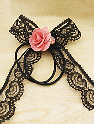 Long Lace Ribbon Flower Hair Bands Han Edition High Elastic Bow Headdress Flower 4 PCS