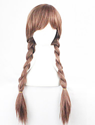Snow And Ice Colors Wig Anna Golden Brown Double Braid Anna Cosplay Anime Wig Caps