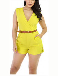 Women's Solid Yellow Jumpsuits,Sexy / Simple V Neck Sleeveless (Without Belt)