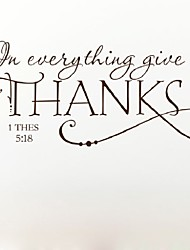 In Everything Give Thanks Christian Jesus Vinyl Quotes Wall Sticker Art Decal Room Decor  Removable Diy