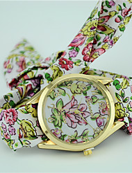 Women's European Style Fashion New Fabric Floral Flower Bracelet Watch Fashion Watch