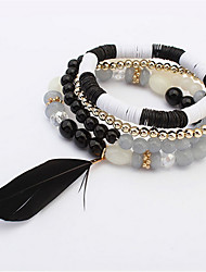 European And American Fashion Bead Bracelet Feather