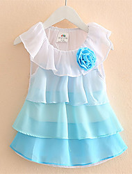 2016 Summer Girls Pleated Chiffon One-Piece Dress With Collar Children Clothes For Kids Baby