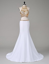 Formal Evening Dress-Ivory Trumpet/Mermaid High Neck Court Train Taffeta