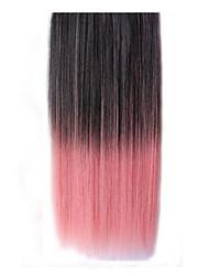 clip de 26 pulgadas en color rosa extensiones de cabello lacio negro sintéticos con 5 clips