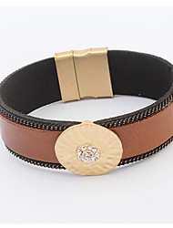 Bracelet/Wrap Bracelets Leather / Rhinestone Wedding / Party / Daily / Casual Jewelry Gift Beige / Black,1pc