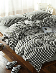 Black and white plaid Washed Cotton Bedding Sets Queen King Size Bedlinens 4pcs Duvet Cover Set